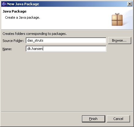 Figure 5 - Creating the new dk.hansen package