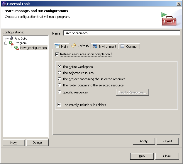 "Figure 10 - Eclipse's external tools: tab ""Refresh"""