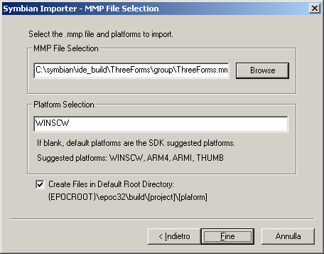 Figure 15 - Importing the generated project into CodeWarrior