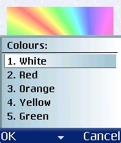 Figure 18 - Color choice<br>1 to 5