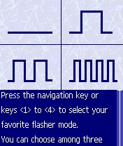 Figure 15 - Flasher mode<br>screen