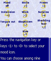 Figure 23 - The mood<br>icon choice screen